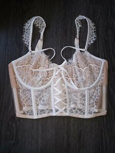 DREAM ANGELS wicked unlined lace up balconette coconut white floral NEW SIZe 34b