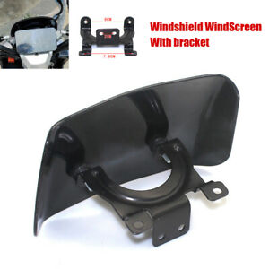 Motorcycle Front Windshield WindScreen w/ Bracket Instrument Protective Cover