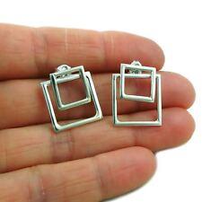 Square Hoops 925 Sterling Silver 2 Way Ear Jacket Earrings in a Gift Box
