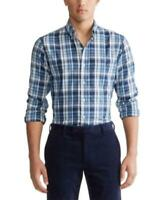 Polo Ralph Lauren Men's Collared Plaid Big & Tall Performance Shirt (Blue)