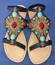 MYSTIQUE Ankle Strap Turquoise Beads Leather Shoes Sandals Flip Flops $220 NEW 7