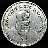 SWITZERLAND 1953-B  5 Francs - Bern- Silver Coin KM-40.
