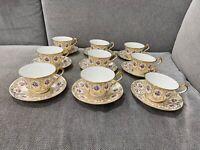 Antique Cauldon Ltd Porcelain Set of 9 Cups & Saucers Gold & Floral Decoration