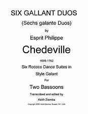 Bassoon Duets 6 Gallant Duos by Chedeville  Six Dance Suites Rococo 28 pp NEW