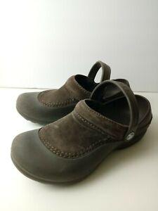 Crocs brown suede croslyte comfort casual slip on women's size 7