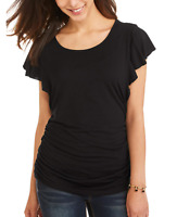 Angels Women's Short Sleeve Ruched Side T-Shirt w/ Lace Detail, Black, Medium