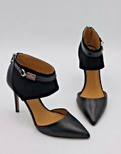 NIB Coach Heiress Pointy-Toe Black Leather Suede Pumps Heels 6.5 36.5 New