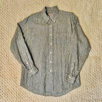Brooks Brothers All Irish Linen Blue Stripe Button Down Casual Ls Shirt M