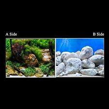 "23.5"" x 60"" 2 Sided Fish Tank Aquarium Decoration Background Bright Stone/Tree"