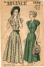 "Vintage 1940s Advance Sewing Pattern Women's DRESS 4889 Size 12 Bust 30"" UNUSED"
