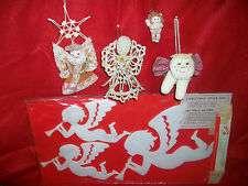 5 HANDMADE SEWN CHRISTMAS ANGEL CHERUB FIGURE LACE ORNAMENTS & STICK-ONS VINTAGE