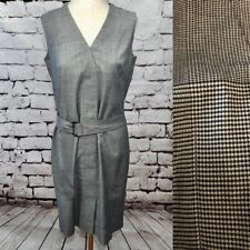 Akris Punto Houndstooth Plaid Check Gray Wool Belted Sleeveless Dress Size 6