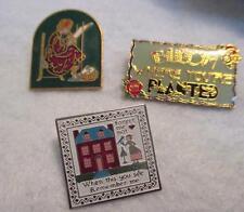 Lot of 3 Novelty Folk Art Lapel Pins Colorful Enameled Metal Bar Tack Backs