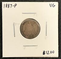 1887-P U.S. SEATED LIBERTY DIME ~ VG CONDITION! $2.95 MAX SHIPPING! C1765