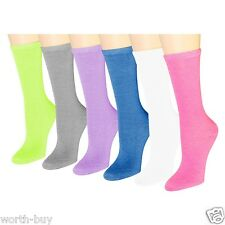 New 12 Pairs Womens Solid Multi Neon Color Crew Socks Cotton Size 9-11 Fashion