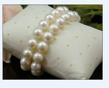 """hot AAA++ 2 rows 11-10mm Natural south sea white round pearl bracelet 7.5-8""""14k"""