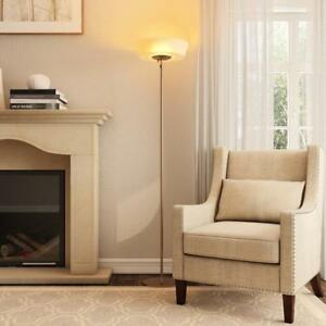 Floor Lamp Nickel Satin Steel Frosted White Shade Sleek Elegant Stainless Modern