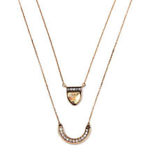 Double Layered Crescent-Shaped Pave Lunette Convertible Pendant Necklaces