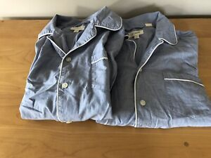 2 PAIR: J.Crew Men's Pajama TOPS ONLY in Cotton Poplin Blue Size Small