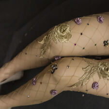 Sexy Women Fishnet Flowers Embroidery Mesh Tights Pantyhose Club Party Stocking