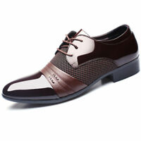 Mens Black Brown Lace Up Leather Lined Patent Dress Wedding Shoes Formal Fashion