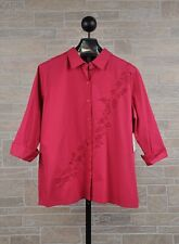 Bechamel Woman 1X Pink Women's Plus Size Floral Embroidered Button Down Shirt