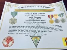 ARMY COMMENDATION MEDAL ~ Vietnam Service Recognition Certificate +FREE PRINTING