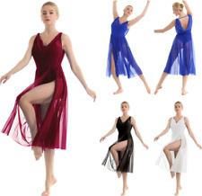 Adult Women Modern Lyrical Ballet Dance Dress Sleeveless Leotard Mesh Maxi Dress