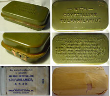 CARLISLE BANDAGE & SULFA   FIRST AID US KIT WWII  WW2 NEVER OPENED