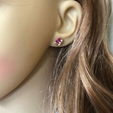 Small 14K Solid Yellow Gold Marquise Ruby Stud Earrings - E141