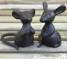More details for set 2 heavy solid cast iron mouse mice lover gift ornament sculpture decoration