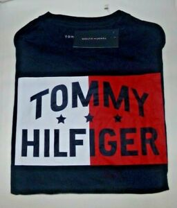 NWT BOYS TOMMY HILFIGER S/S T-SHIRT~NAVY~SIZE MED 12-14
