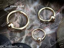 Rose Gold Plated Captive Bead Ring / Hoop / Lip / Nose / Belly Bar / Nipple Bar