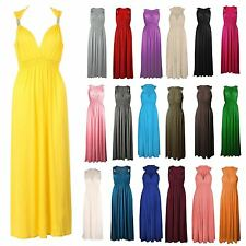 Womens Ladies Summer Stretch Spring Coil Long Jersey Maxi Dress Size 8-18