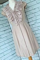 TED BAKER 100% Silk Button Front Dress Sz 1 / UK 8 Midi Special Occasion b8