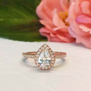 1.00 Carat Pear Cut Diamond Accented Halo Engagement Ring 14K Rose Gold Finish
