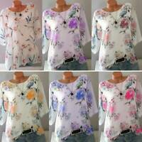 Plus Size Women Summer Floral T Shirt Loose Casual Short Sleeve Tunic Blouse Top