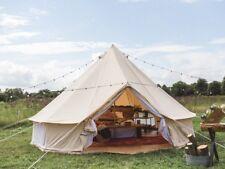 5M Coton Toile Pyramide Ronde Bell Tente avec tapis de sol zippé on De plein air