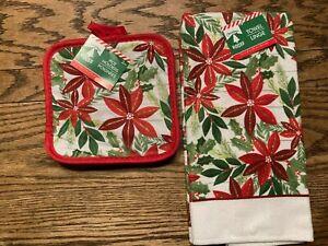 NEW! Christmas House Hand Towel & 2 Pot Holders Poinsettias