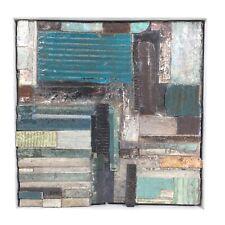 ABSTRACT ART Textured Weathered Wabi Sabi, blue grey green, contemporary artist
