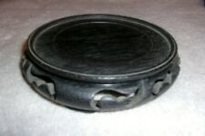 "Chinese Round Wooden Stand Base Dark Brown Reddish 5"" DIAMETER"