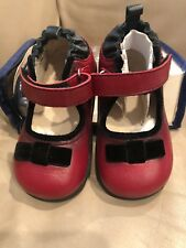 Baby Girls Robeez Tredz Shoes 12-16 Mo Red Leather Mary Janes Dressy Walking NEW