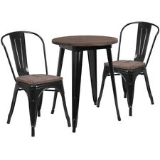 """24"""" Round Black Metal Restaurant Table Set with Walnut Wood Top and 2 Chairs"""