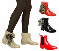 WOMEN LADIES ANKLE FLAT CHELSEA WELLINGTON WATERPROOF WELLIE SNOW RAIN BOOT SIZE