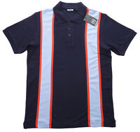 Relco Mens Stripe Pique Polo Shirt in Navy Blue 60s Retro Vintage Striped Cotton