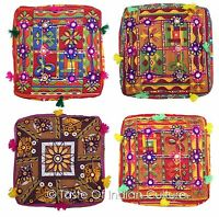 "16"" Square Seat Floor Cushion Ottoman Pouf Stool Cover INDIAN Bohemian Decor"