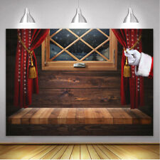 Christmas Photo Backdrop Window Snowflake Santa Claus Glitter Wood Wall Backdrop