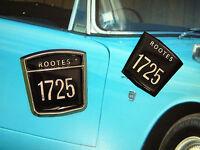 Pair Repro Rootes 1725 Badges- No bezel, just inserts - Sunbeam Alpine Gazelle