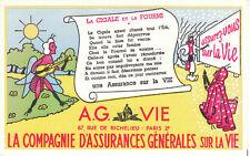 Buvard vintage compagnie d'assurances sur la vie La cigale et la fourmi
