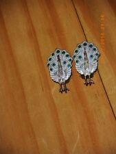 sterling silver earrings peacocks hand painted siam clip on big